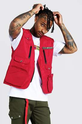 boohoo MAN Utility Vest With Rubber Branding