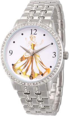 DISNEY PRINCESS Disney Princess Belle Cinderella Womens Silver Tone Bracelet Watch-Wds000231