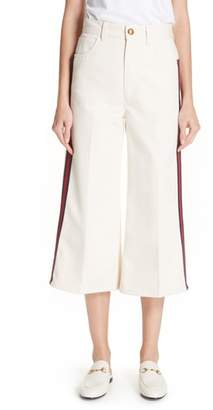 Gucci Ribbon Detail Wide Leg Crop Jeans
