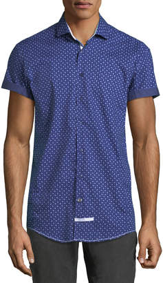 English Laundry Classic-Fit Micro-Paisley Short-Sleeve Sport Shirt