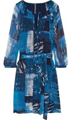 Raquel Allegra Printed Crinkled-Chiffon Dress