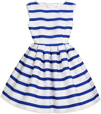 Helena Horizontal Stripe Organza Pleated Dress, Size 7-14