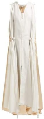 Lee Mathews - Judd Zipped Silk Satin Midi Dress - Womens - Cream