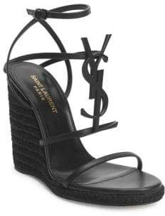 Saint Laurent Cassandra Leather Espadrille Wedge Sandals