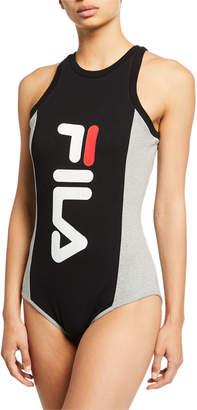 Fila Carinne Sleeveless Racerback Bodysuit w\/ Logo