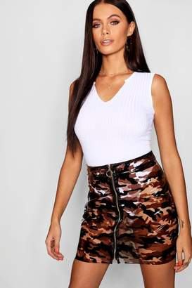 boohoo Zip Through Camo Vinyl Mini Skirt