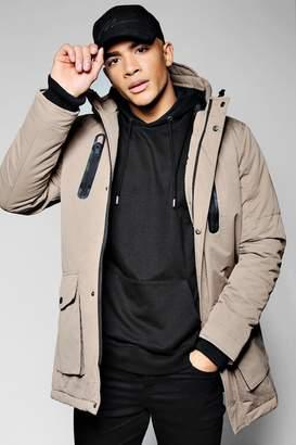 BoohooMAN Hooded Parka Jacket With Utility Pockets