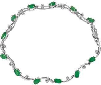 """14K Diamond & Gemstone Wavy 7"""" Bracelet, 5.2g"""