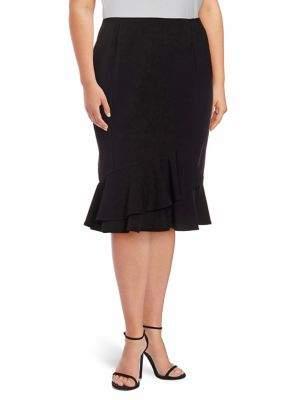 Calvin Klein Plus Plus Ruffle Knee-Length Skirt