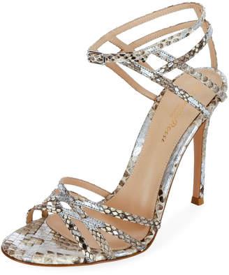 Gianvito Rossi Strappy Metallic Python Sandals