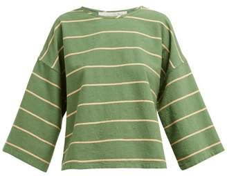 Ace&Jig Flared Sleeve Boat Neck Cotton Top - Womens - Green