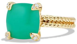 David Yurman Ch'telaine Ring with Chrysoprase and Diamonds in 18K Gold