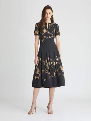 Oscar de la Renta Floral Jacquard Lame Cocktail Dress
