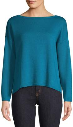 Eileen Fisher Boat Neck Long Sleeve Knit Top