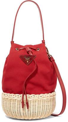 3dc958b26327 Prada Giardiniera Leather-trimmed Canvas And Wicker Shoulder Bag - Red