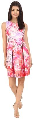 Vince Camuto Printed Twill Sleeveless Fit and Flare Dress with Seam Detail on Skirt Women's Dress