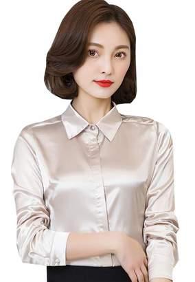 fe288ffbb8 ouxiuli Women's Fashion Work Office Slim Fit Blouse Long Sleeve Satin Lady  Shirt M