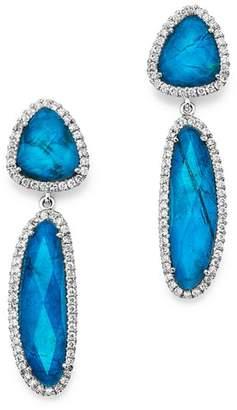 Meira T 14K White Gold Chrysocolla Doublet and Diamond Dangle Earrings