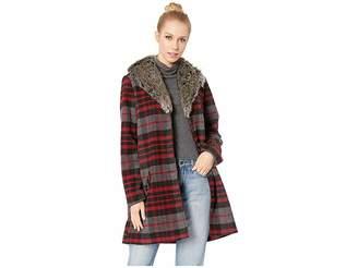 BB Dakota Plaid Romance Brush Plaid Coat with Fur Collar