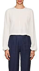 Robert Rodriguez Women's Ruffled-Back Crêpe De Chine Blouse - Cream