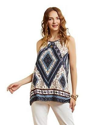 SONJA BETRO Amazon Brand Women's Printed Halter Neck Sleeveless Tunic