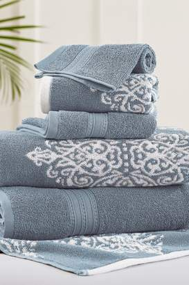 Amrapur Sterling Blue Artesia Damask Reversible Yarn-Dyed Jacquard 6-Piece Towel Set