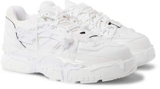 Maison Margiela Fusion Distressed Rubber-Trimmed Leather Sneakers - Men - White