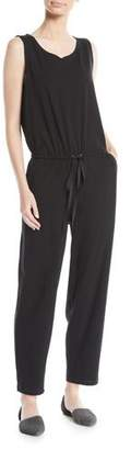 Eileen Fisher Sleeveless Drawstring-Waist Jumpsuit, Petite