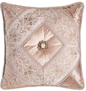 "Dian Austin Couture Home Dahlia Pillow with Rosette, 18""Sq."
