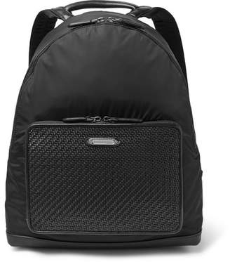 Ermenegildo Zegna Pelle Tessuta Leather And Shell Backpack
