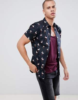 New Look Muscle Fit Shirt With Flamingo Print In Black
