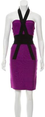 Herve Leger Halter Bandage Dress