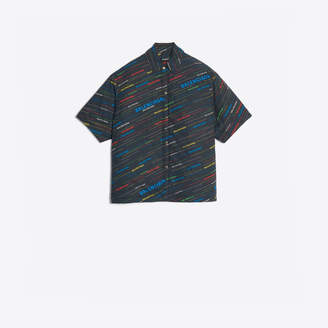 Balenciaga Allover logo pattern cotton shirt