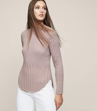 Reiss LINA PLEATED LONG-SLEEVED TOP Dusty Rose