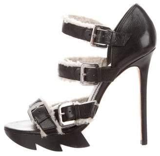 Camilla Skovgaard Shearling-Trimmed Multistrap Sandals