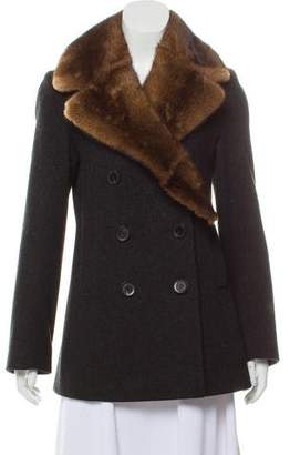 Fleurette Fur-Trimmed Wool Coat
