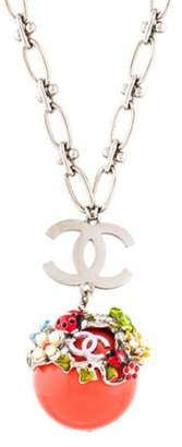 Chanel Faux Pearl, Strass & Resin Pendant Necklace Silver Chanel Faux Pearl, Strass & Resin Pendant Necklace