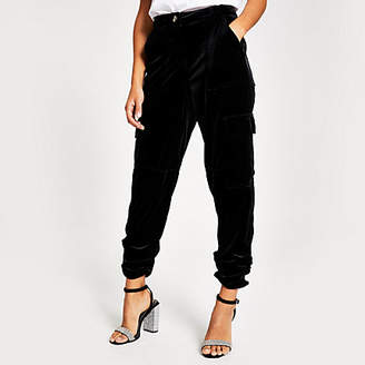 River Island Black velvet ruched hem cargo trousers
