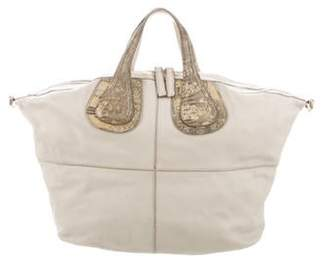 Givenchy Ostrich Leg-Trimmed Nightingale Bag silver Ostrich Leg-Trimmed Nightingale Bag