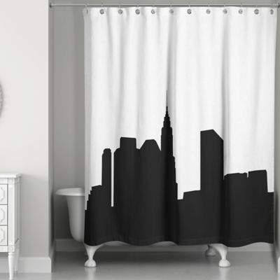 City Skyline Shower Curtain in Black/White