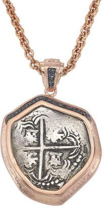 Jorge Adeler Santa Rosa Coin Pendant in 18k Rose Gold w/ Black Diamonds