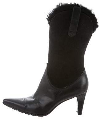 Stuart Weitzman Suede Fur-Trimmed Ankle Boots