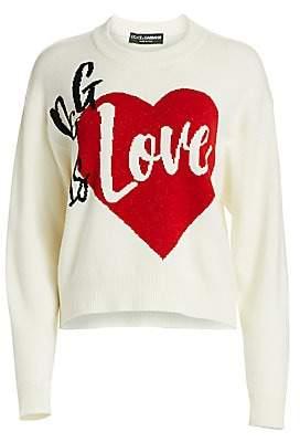 Dolce & Gabbana Dolce& Gabbana Dolce& Gabbana Women's D& G Is Love Itarsia Knit Sweater