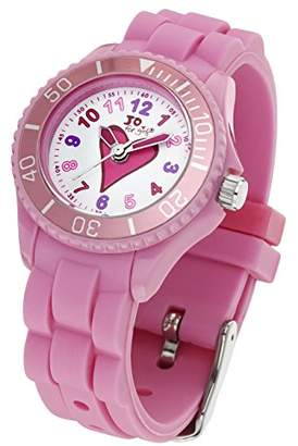 Jo for Girls Heart Quartz Watch for Girl's 50m Water Resistant with Watermelon Pink Silicone Strap