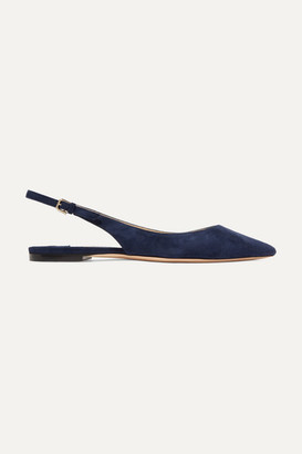 Jimmy Choo Erin Suede Slingback Point-toe Flats - Navy