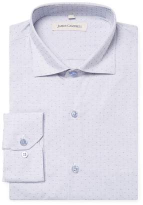 James Campbell Men's Printed Barrel Spread Dress Shirt