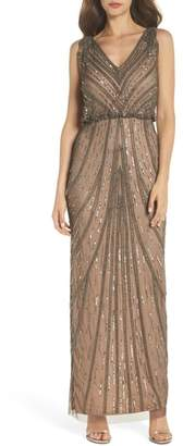 Adrianna Papell V-Neck Deco Beaded Gown