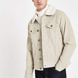 River Island Stone fleece line cord jacket