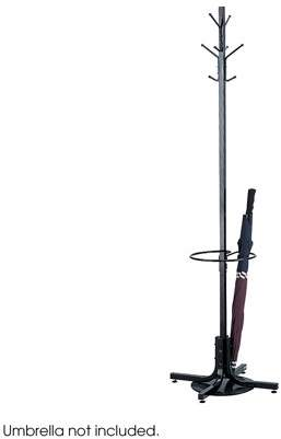 Safco Coat Rack with Umbrella Stand, Black