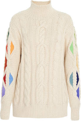 Rosie Assoulin Pain In The Glass Cable-Knit Alpaca Sweater